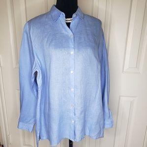 J Jill LOVE LINEN Size Large Blue Essential Shirt